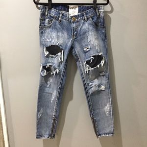 Trashed Freebirds Cobain 26 Ankle Zip Distressed